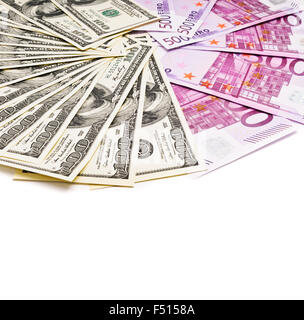 dollars and euro currency fan isolated on white - Stock Photo