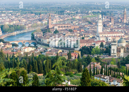 The old part of town seen from the church La Madonna di Lourdes, the river Etsch is leading throug the city - Stock Photo