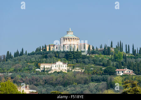 The church La Madonna di Lourdes is located on a hill above the city - Stock Photo