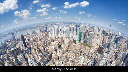 Fisheye lens aerial view of Manhattan, New York, USA. - Stock Photo