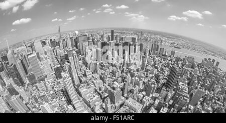 Black and white fisheye lens aerial view of Manhattan, New York, USA. - Stock Photo