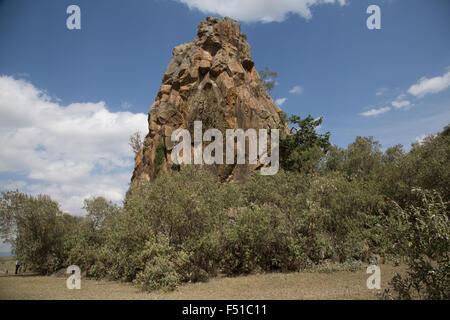 The volcanic column named Fischer's Rock Hell's Gate Rift Valley Kenya - Stock Photo