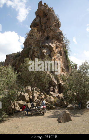 The volcanic column named Fischer's Rock Hell's Gate Rift Valley Kenya - Stock Photo