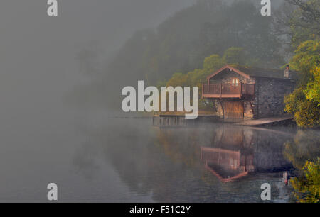 The Duke of Portland Boathouse in autumn, near Pooley Bridge on Ullswater Lake, Lake District, Cumbria, England, - Stock Photo