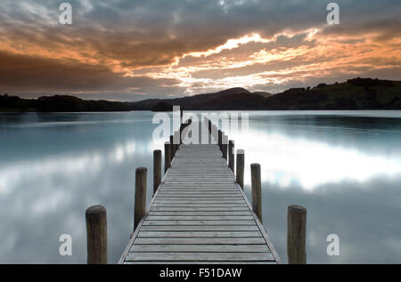 Parkamoor Jetty on Coniston Water,  Lake District, Cumbria, England, Uk, Gb. - Stock Photo