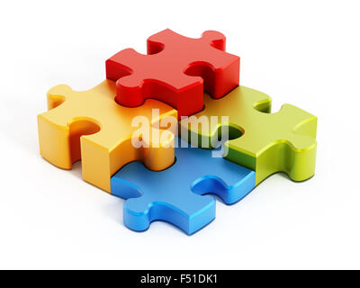 Multi colored puzzle pieces isolated on white background - Stock Photo