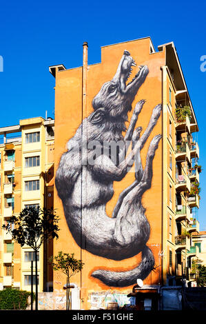 The Jumping Wolf by renowned artist ROA in Via Galvani, Rome Italy - Stock Photo