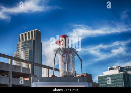 Baseball player sculpture in Omaha, Nebraska - Stock Photo