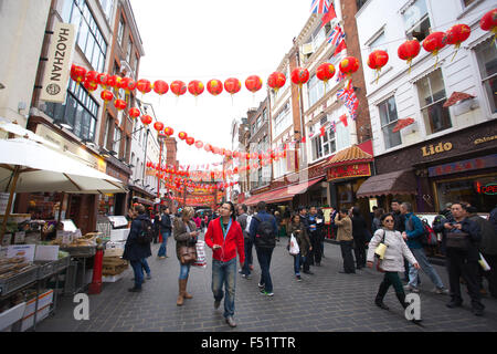 China Town, Gerrard Street, West End, Central London, England, UK - Stock Photo