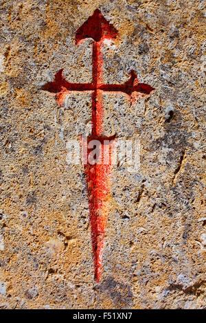 The way of saint James stone sign Palencia Spain - Stock Photo