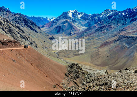 View of a valley in the Andes around Mendoza, Argentina - Stock Photo