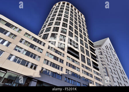 Eagle House luxury flats in City Road, London with M by Montcalm Shoreditch hotel on R - Stock Photo