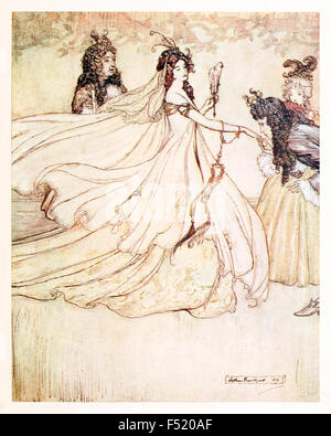 'Ashenputtel goes to the ball.' from 'Ashenputtel' (Cinderella) in 'The Fairy Tales of the Brother's Grimm', illustration - Stock Photo