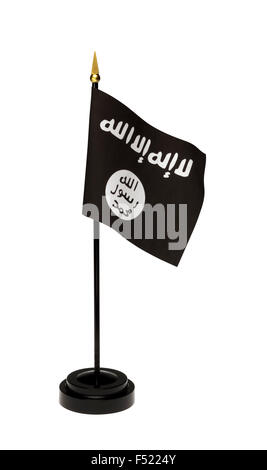 Small flag of ISIL, ISIS in a stand isolated on a white background. Includes clipping path.  See all my miniature - Stock Photo