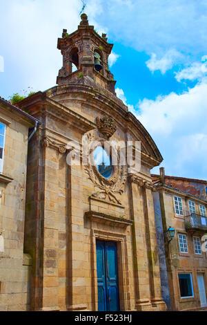 Santiago de Compostela Santa Maria del Camino church end of Saint James Way in Galicia Spain - Stock Photo