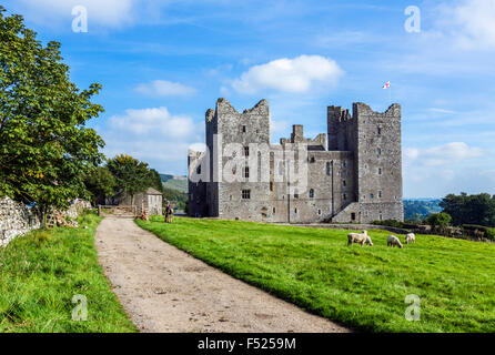 Walkers resting near Bolton Castle, Castle Bolton, Wensleydale, Yorkshire Dales, North Yorkshire, England, UK - Stock Photo