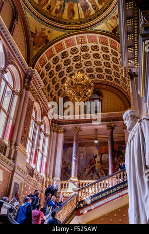 The Grand Staircase and ornate ceiling of the United Kingdom Foreign and Commonwealth Office, Westminster, London, - Stock Photo