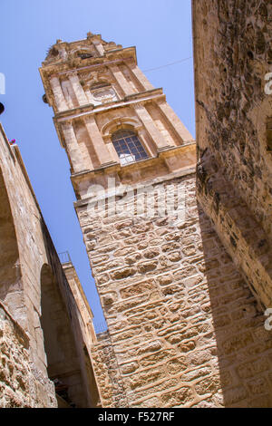 Bell Tower in Monastery of the Holy Cross in Jerusalem and located in the Valley of the Cross. - Stock Photo