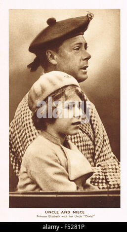 Young Princess Elizabeth & Prince of Wales later briefly King Edward VIII - Stock Photo