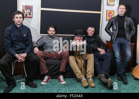 Kascarade Carl Bower, Adam Brankin, Mathew Milnes, Martin Horton, Luke Milnes, band members in the studio - Stock Photo