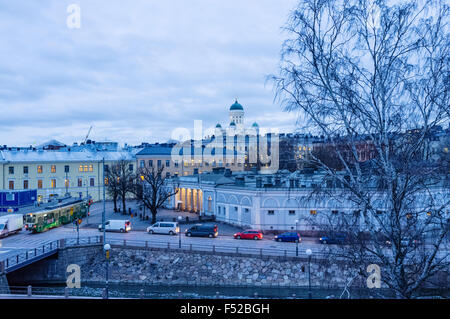 Helsinki city center overview with Lutheran Cathedral in background at dusk. Helsinki, Finland - Stock Photo