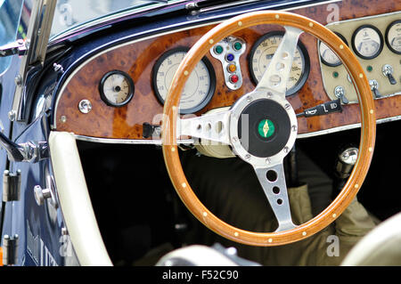 Close up of Steering Wheel of Antique Car - Stock Photo