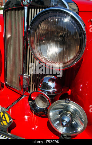 Detail of an Vintage Car 1949 Triumph Roadster, Front Part View - Stock Photo