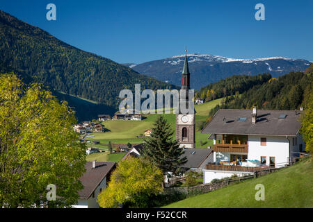 Early morning view over village of San Pietro in Val di Funes, Trentino-Alto-Adige, Italy - Stock Photo