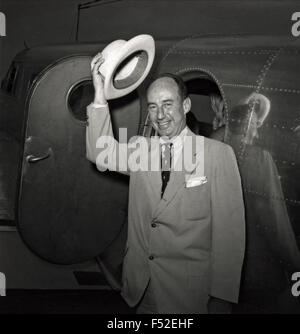 U.S. Democratic presidential candidate Adlai Stevenson arrives by plane for the Democratic National Convention July - Stock Photo