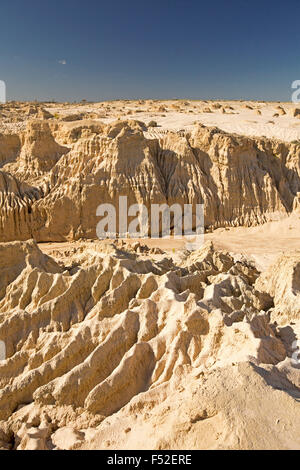 Australian outback landscape with severely eroded soil in varied formations on Great Wall of China at Mungo National - Stock Photo