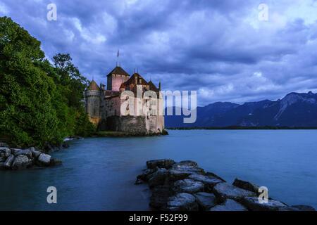 The Chateau de Chillon at nightfall. Lake Geneva, Switzerland. - Stock Photo