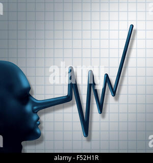 Financial fraud and false financial reporting crime concept as a ceo business person symbol with a long nose shaped - Stock Photo