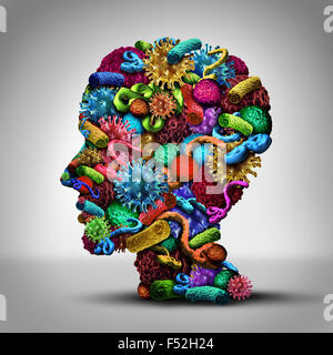 Disease thinking illness issues and medical concept as a group of cancer bacteria cells and ebola virus shaped as - Stock Photo