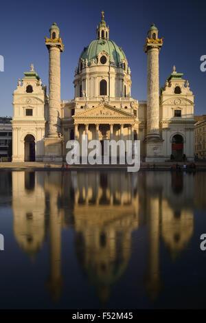 Austria, Vienna, Karlsplatz (square), Karlskirche, built by Johann Bernhard Fischer von Erlach in 1716-1737 in the - Stock Photo