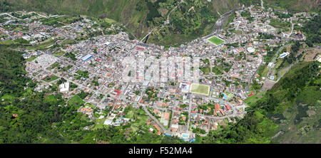Banos De Agua Santa City Aerial Shot From Full Size Helicopter High Altitude Panorama Stitched Images Tungurahua - Stock Photo