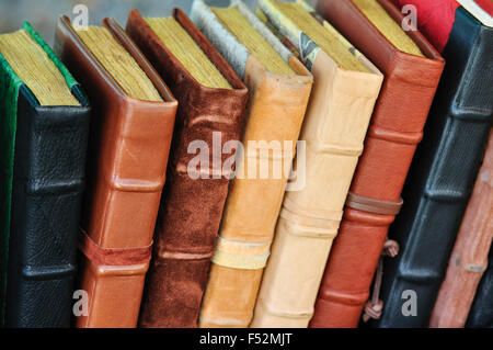 Aging Leather Bound Books - Stock Photo