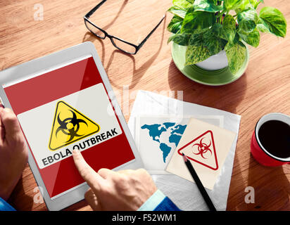 Ebola Outbreak Digital Device Internet Wireless Searching Concept - Stock Photo