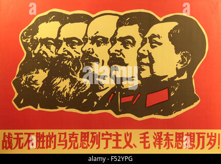 Mao Zedong, Lenin, Stalin, Marx in a Chinese Cultural Revolution propaganda poster - Stock Photo