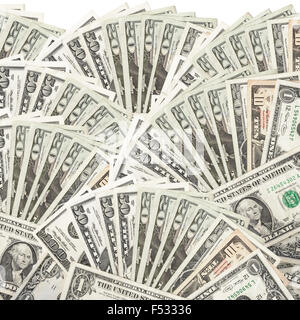 Dollars assorted bills and cash pile background - Stock Photo