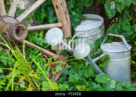 Cartwheel and watering cans Stock Photo: 278650073 - Alamy