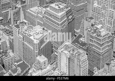 Black and white picture of highrise buildings, Manhattan in New York City, USA. - Stock Photo