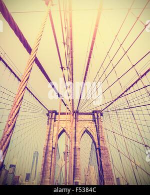 Vintage toned photo of the Brooklyn Bridge, NYC, USA.