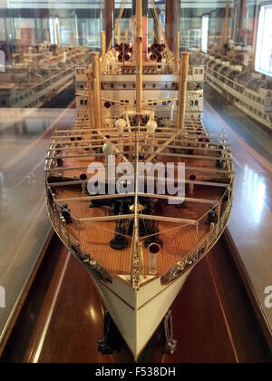 AUCKLAND  - OCT 25 2015:Old ship model in Auckland Maritime Museum.It houses exhibitions spanning New Zealands maritime - Stock Photo