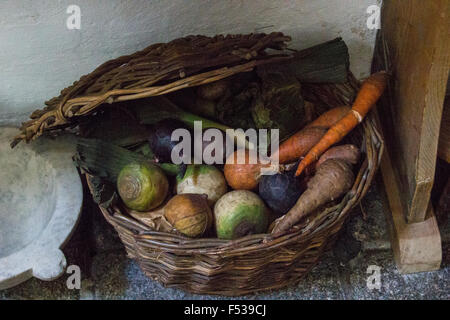 Basket of Vegetables in a country house. - Stock Photo