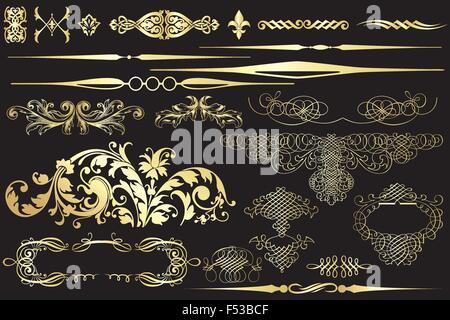 Collection of golden vintage design elements isolated on black - Stock Photo
