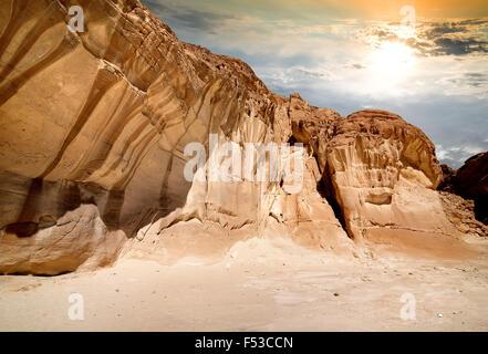 Mountains of canyon in Sinai at sunrise - Stock Photo