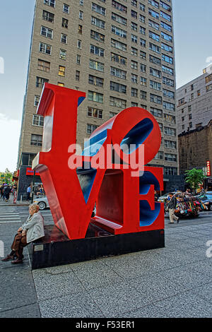 NEW YORK, USA - MAY 07, 2015: Love sculpture by American artist Robert Indiana on May 07, 2015 in New York. The - Stock Photo