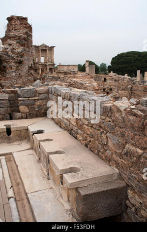 Ephesus was one of the most important Greek cities in Asia minor. A major attraction are the public toilets. - Stock Photo