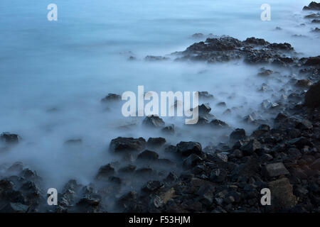 Evening mood, lava rock by the sea, Poris de Abona, Tenerife, Spain, - Stock Photo