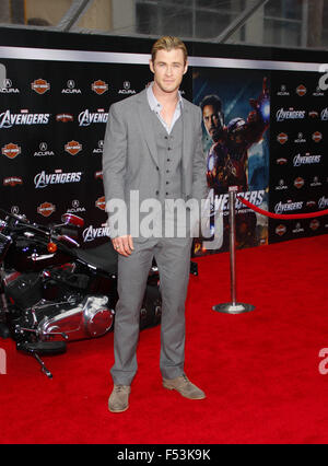 April 11, 2012. Chris Hemsworth at the Los Angeles premiere of 'The Avengers' held at the El Capitan Theater, Los - Stock Photo